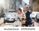 in the city. newlyweds having... | Shutterstock . vector #459020650