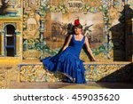 beautiful woman with flamenco... | Shutterstock . vector #459035620