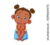 cute african baby girl sitting... | Shutterstock .eps vector #459065470