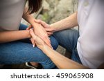 boy holding the girl's hands.... | Shutterstock . vector #459065908