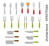 stainless steel bbq grill tools ... | Shutterstock .eps vector #459079366