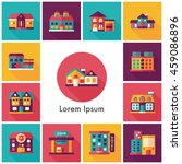 building and store icons set | Shutterstock .eps vector #459086896