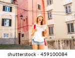 young woman traveling with... | Shutterstock . vector #459100084