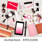 travel concept   women set with ... | Shutterstock . vector #459121030