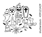 doodle art halloween icons with ... | Shutterstock .eps vector #459121429