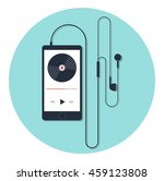 music player and earphone with... | Shutterstock .eps vector #459123808
