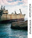 Small photo of Abandoned Ship On Beach. Cyprus.