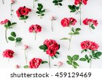 red roses on white background.... | Shutterstock . vector #459129469