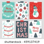 set of six christmas greeting... | Shutterstock .eps vector #459137419