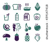 vegetables  fruit icon set | Shutterstock .eps vector #459147418