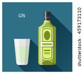 bottle and glass of gin in flat ... | Shutterstock .eps vector #459173110
