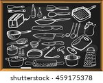 kitchen tools set on black... | Shutterstock . vector #459175378