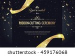 Grand opening sparkling banner. Text composition with  golden splashes  and ribbons.Gold sparkles.  Elegant style. Vector Illustration | Shutterstock vector #459176068
