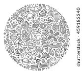 line art vector hand drawn set... | Shutterstock .eps vector #459183340