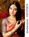 beauty sweet real indian girl... | Shutterstock . vector #459195874