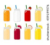 smoothie set on white... | Shutterstock .eps vector #459199576