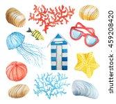 watercolor sea nautical set of... | Shutterstock . vector #459208420