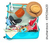the open blue suitcase ... | Shutterstock . vector #459236620