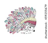 aztec hedgehog  native american ... | Shutterstock .eps vector #459255679