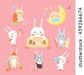 Stock vector set cute rabbit 459266674