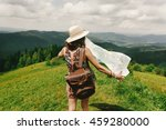 stylish hipster woman traveler... | Shutterstock . vector #459280000