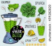 sketch juice detox set.... | Shutterstock .eps vector #459282820