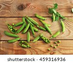 Young Peas On A Wooden...