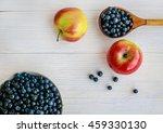 blueberries and apples on a... | Shutterstock . vector #459330130
