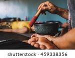 yoga teacher playing tibetan... | Shutterstock . vector #459338356