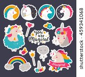 set of stickers with baby... | Shutterstock .eps vector #459341068