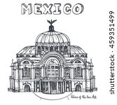 mexico famous landmarks palace... | Shutterstock .eps vector #459351499