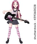 cool rock star girl playing... | Shutterstock .eps vector #459360028