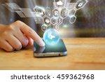 woman hand touch screen smart... | Shutterstock . vector #459362968