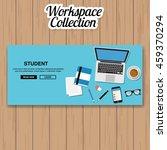 student  workspace vector | Shutterstock .eps vector #459370294