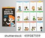 back to school set . pupils... | Shutterstock .eps vector #459387559