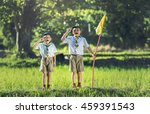 Small photo of Boy scout making an oath