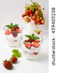 layered strawberries cream... | Shutterstock . vector #459405238