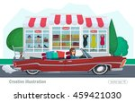 girl rides on a red convertible ... | Shutterstock .eps vector #459421030