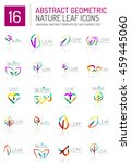 geometric leaf icon set. thin... | Shutterstock . vector #459445060