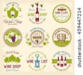 wine shop colored emblems with... | Shutterstock .eps vector #459447214