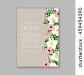 floral wedding invitation with... | Shutterstock .eps vector #459454390