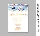 floral wedding invitation with... | Shutterstock .eps vector #459455308