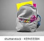 school backpack on grey... | Shutterstock . vector #459455584
