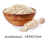 Oat Flakes In Clay Bowl And...