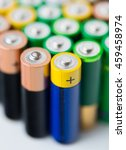 Small photo of recycling, energy, power, environment and ecology concept - close up of alkaline batteries heap