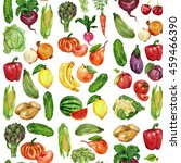 watercolor set with fruits and... | Shutterstock . vector #459466390