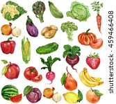 watercolor set with fruits and... | Shutterstock . vector #459466408