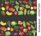 watercolor set with fruits and... | Shutterstock . vector #459467200