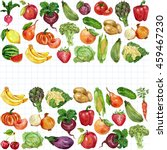 watercolor set with fruits and... | Shutterstock . vector #459467230