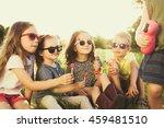 children eating lollipops... | Shutterstock . vector #459481510